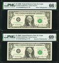 Radar 70200207 Fr. 1933-H $1 2006 Federal Reserve Note. PMG Gem Uncirculated 66 EPQ; Repeater 70207020 Fr. 1933-H $1 200...