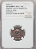 Errors, 1945 1C Lincoln Cent -- Obverse Lamination Before Striking -- MS65 Brown NGC. 2.8 Grams....