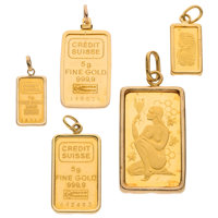 Gold Credit Suisse, Gold Pendants ... (Total: 5 Items)