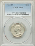 Washington Quarters, 1932-D 25C XF40 PCGS. PCGS Population: (314/4623). NGC Census: (156/2478). CDN: $135 Whsle. Bid for NGC/PCGS XF40. Mintage ...