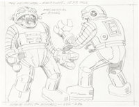 """Jack Kirby Space Stars - Space Ghost """"Nomads"""" and """"The Sorceress"""" Animation Concept Original Art Gro..."""