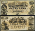 Obsoletes By State:Louisiana, New Orleans, LA- New Orleans Canal and Banking Company $500; $1,000 18__ Remainders Choice About Uncirculated.. ... (Total: 2 notes)