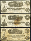 Confederate Notes:1862 Issues, T40 $100 1862 Three Examples Fine or Better.. ... (Total: 3 notes)