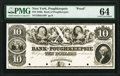 Poughkeepsie, NY- Bank of Poughkeepsie $10 18__ G48 Proof PMG Choice Uncirculated 64
