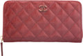 """Luxury Accessories:Accessories, Chanel Red Quilted Lambskin Leather Long Zipped Wallet. Condition: 1. 7.5"""" Width x 4"""" Height x 1"""" Depth. ..."""
