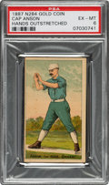 Baseball Cards:Singles (Pre-1930), 1887 N284 Buchner Gold Coin Cap Anson (Hands Outstretched) PSA EX-MT 6 - Pop One, None Higher!. ...