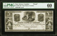 Camden, NJ- State Bank at Camden $5 18__ G36 as Wait 339 Proof PMG Uncirculated 60