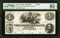 Freehold, NJ- Farmers Bank of Freehold $1 July 4, 1851 as G2 as Wait 150 Proof PMG Gem Uncirculated 65 EPQ