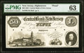 Hightstown, NJ- Central Bank of New Jersey at Hightstown $50 Jan. 1, 1852 as G14 as Wait 772 Proof PMG Choice Uncirculat...