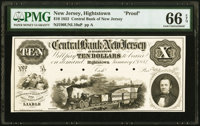 Hightstown, NJ- Central Bank of New Jersey at Hightstown $10 Jan. 1, 1852 as G10 as Wait 768 ProofPMG Gem Uncircul