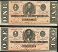 Confederate Notes:1864 Issues, T71 $1 1864 PF-12 Cr. 574 Two Examples Crisp Uncirculated.. ... (Total: 2 notes)