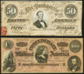 T65 $100 1864 XF; T66 $50 1864 AU. ... (Total: 2 notes)