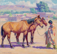 Henry C. Balink (American, 1882-1963) Tony and his Horses Oil on canvas 15 x 16 inches (38.1 x 40
