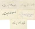 Autographs:Letters, Casey Stengel Signed Index Cards Lot of 5. With a baseball careerspanning many years, Casey became most associated with th...