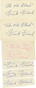 """Autographs:Letters, Frank Frisch Cut Signatures Lot of 12. We offer a lot of twelve(12) cut signatures of """"The Old Flash"""" Frank Frisch. Three ..."""