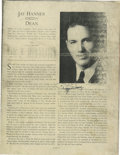 Autographs:Letters, Dizzy Dean Autographs Lot of 2. We offer a lot consisting of pagefrom a magazine with a comprehensive bio of Dean. He auto...