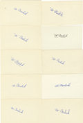 Autographs:Letters, Al Barlick Signed Index Cards Lot of 20. Having fulfilled a longand storied career as a major league umpire for 28 years, ...