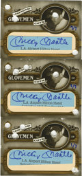 Autographs:Sports Cards, Mickey Mantle Signed Cards/Cuts Lot of 4. We offer four cutsignatures of the legendary New York Yankee, Mickey Mantle. Thr...