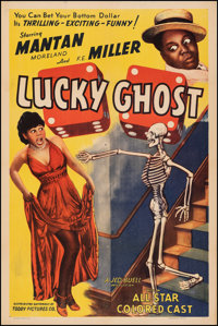 "Lucky Ghost (Toddy Pictures, 1941). Very Fine- on Linen. One Sheet (27"" X 41""). Black Films"