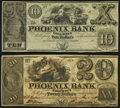 Columbus, GA- Phoenix Bank $10 18__ Remainder; $20 May 1, 1845 Very Fine or Better. ... (Total: 2 notes)