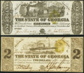 Milledgeville, GA- State of Georgia $1; $2 Jan. 1, 1864 About Uncirculated or Better. ... (Total: 2 notes)