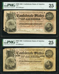 Confederate Notes:1864 Issues, T64 $500 1864 PF-2 Cr. 489 Two Examples PMG Very Fine 25.. ... (Total: 2 notes)