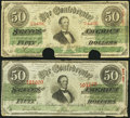 Confederate Notes:1863 Issues, T57 $50 1863 Two Examples Fine-Very Fine or Better.. ... (Total: 2 notes)