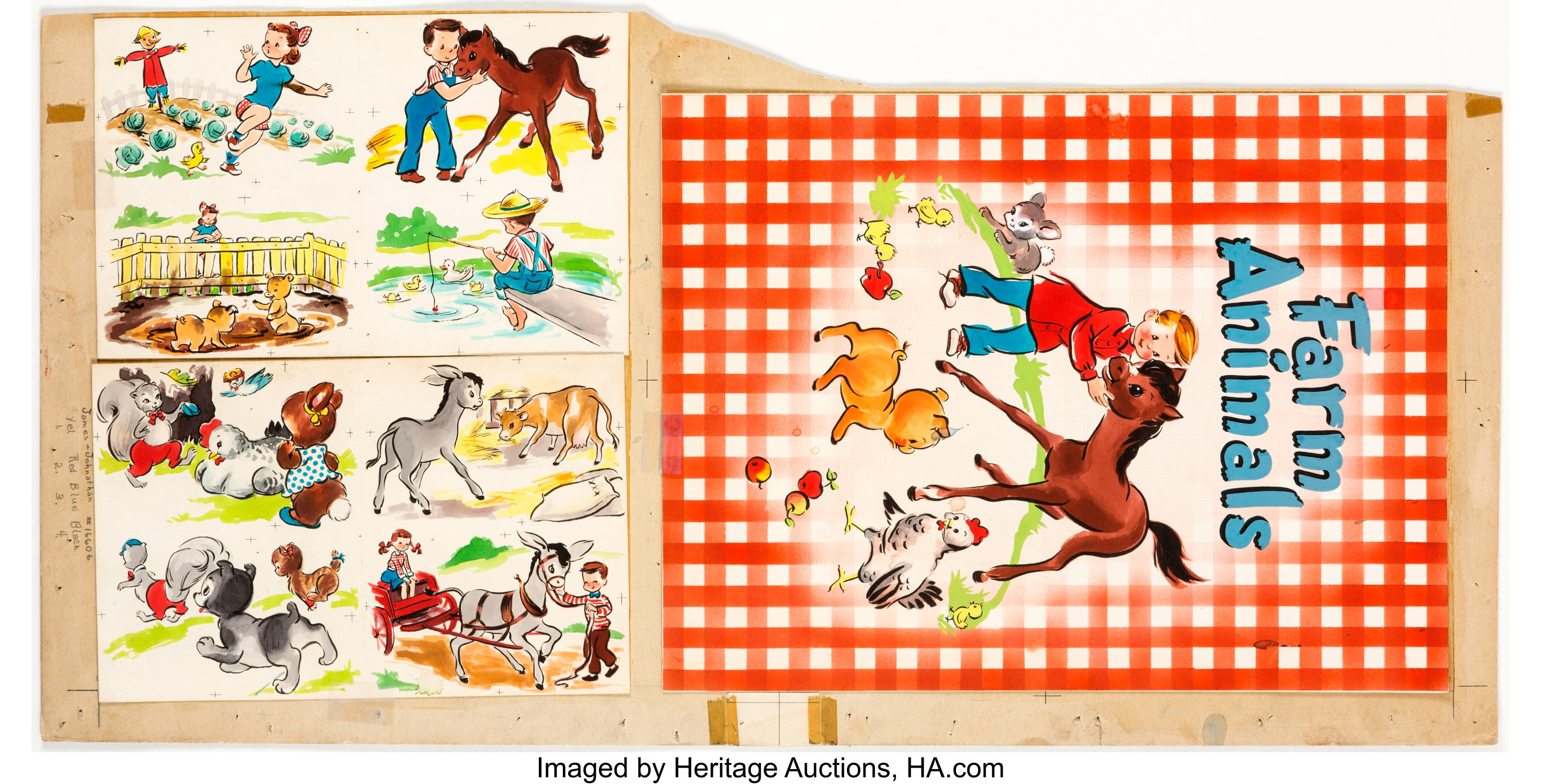 Farm Animals Book Cover And Spot Illustration Original Art Group Lot 13405 Heritage Auctions