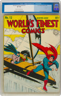Golden Age (1938-1955):Superhero, World's Finest Comics #12 (DC, 1943) CGC VF 8.0 Cream to off-white pages....