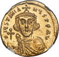 Ancients:Byzantine, Ancients: Justinian II, first reign (AD 685-695). AV solidus (20mm, 4.44 gm, 7h). NGC Choice MS 5/5 - 5/5....