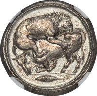 Ancients: MACEDON. Acanthus. Ca. 470-430 BC. AR tetradrachm (28mm, 17.49 gm, 8h). NGC AU 5/5 - 4/5, Fine Style