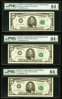 Fr. 1975-I*; J*; K* $5 1977A Federal Reserve Star Notes PMG Choice Uncirculated 64 EPQ. ... (Total: 3 notes)