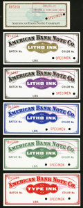 ABNCo Label Specimens ND Extremely Fine-About Uncirculated or Better, 2 POCs. ABNCo Eagle Design; Litho Ink Labels F...