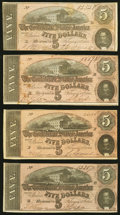 Confederate Notes:1864 Issues, T69 $5 1864 Four Examples Fine-Very Fine or Better.. ... (Total: 4 notes)