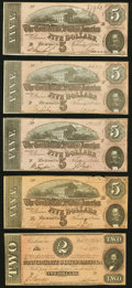 Confederate Notes:1864 Issues, T69 $5 1864 Four Examples About Uncirculated;. T70 $2 1864 Very Fine.. ... (Total: 5 notes)