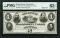 Norristown, PA- Bank of Montgomery County $1 Jan. 2, 1865 Remainder PMG Gem Uncirculated 65 EPQ