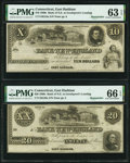 East Haddam, CT- Bank of New England at Goodspeed's Landing $10; $20 18__ Remainders PMG Choice Uncirculated 63 EPQ; G...