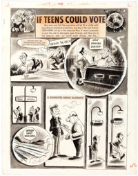 """Sick Magazine #53 Complete 3-Page Story """"If Teens Could Vote"""" Original Art (Prize Publ., 1967).... (Total: 3 O..."""