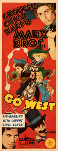 "Movie Posters:Comedy, Go West (MGM, 1940). Very Fine- on Paper. Insert (14"" X 36""). Al Hirschfeld Artwork.. ..."