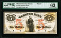 Boston, MA- Webster Bank $5 June 17, 1856 as G10 PMG Choice Uncirculated 63
