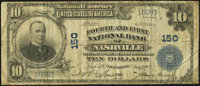 Nashville, TN - $10 1902 Plain Back Fr. 628 Fourth & First National Bank Ch. # 150 Very Good-Fine