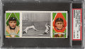 """Baseball Cards:Singles (Pre-1930), 1912 T202 Hassan Triple Folder O'Leary/Cobb """"Fast Work At Third"""" PSA EX-MT 6...."""