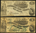 Confederate Notes:1862 Issues, T44 $1 1862 PF-3 Cr. 341 Fine-Very Fine;. T45 $1 1862 PF-2 Cr. 342 Very Good-Fine.. ... (Total: 2 notes)