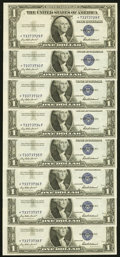 Fr. 1615* $1 1935F Silver Certificate Stars. Eight Examples. Crisp Uncirculated. ... (Total: 8)