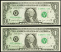 Partial Back to Face Offset Error Fr. 1915-E $1 1988A Federal Reserve Notes. Two Examples. Choice Crisp Uncirculated...