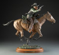 Sculpture, Truman Bolinger (American, 1944). More Money Faster Horses, 1976. Bronze with brown, green, and red patina. 18 inches (4...