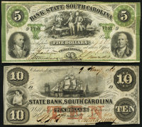Charleston, SC- Bank of the State of South Carolina $5 Mar. 9, 1861 Fine-Very Fine; Charleston, SC- State Bank, Sout...