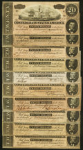 Confederate Notes:1864 Issues, T67 $20 1864 Ten Examples Extremely Fine to Crisp Uncirculated.. ... (Total: 10 items)