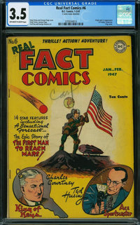 Real Fact Comics #6 (DC, 1947) CGC VG- 3.5 Off-white to white pages