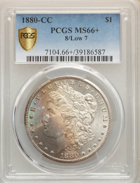 1880-CC S$1 8 Over Low 7 PCGS Secure PCGS Plus 66 PCGS